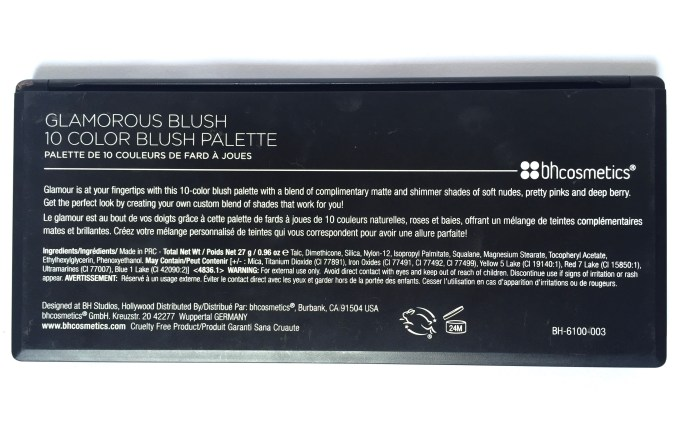 BH Cosmetics Glamorous Blush 10 Color Palette Review Swatches info