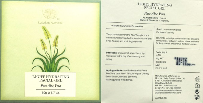 Forest Essentials Light Hydrating Facial Gel Pure Aloe Vera Review Ingredients