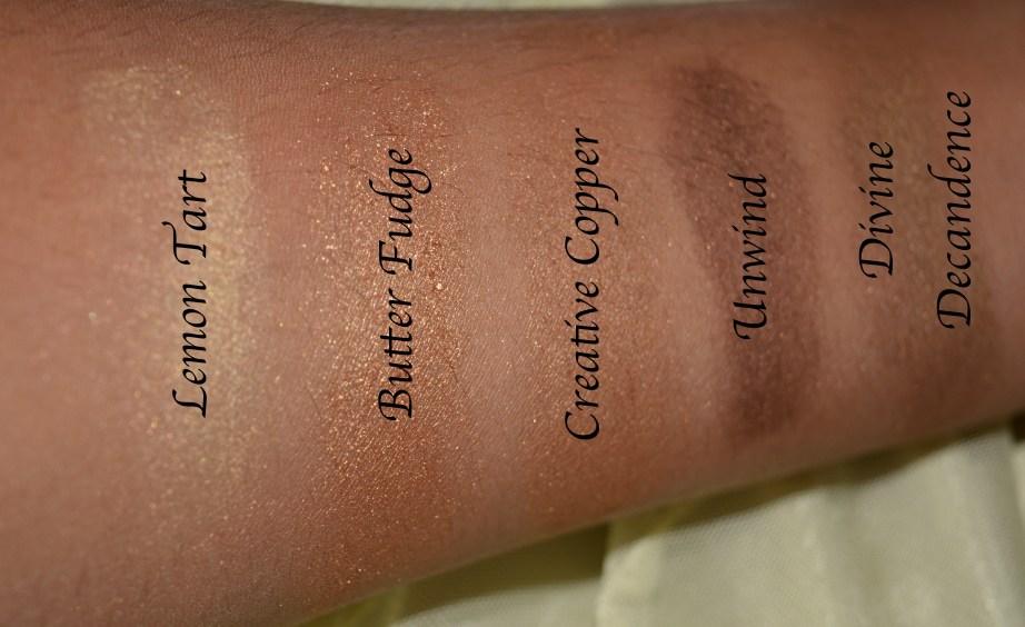 MAC Eyeshadow x 15 Warm Neutral Palette Review Swatches Lemon tart Butterfudge Creative Copper Unwind Divine Decadence 3rd Row