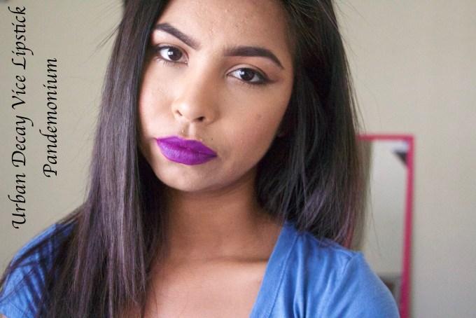 Urban Decay Vice Lipsticks Pandemonium Review Swatches MBF Makeup Look