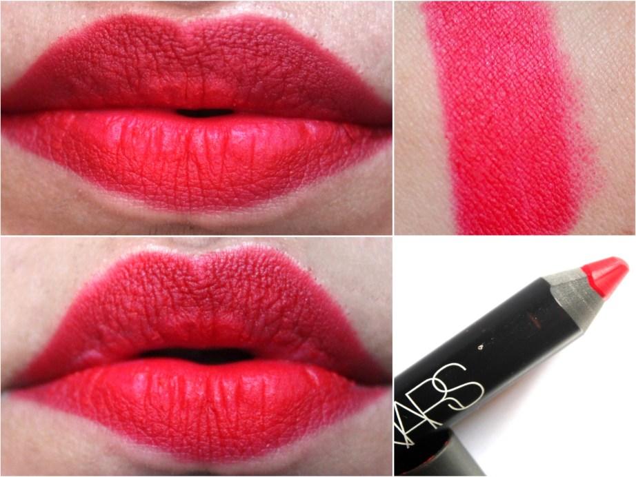 NARS Dragon Girl Velvet Matte Lip Pencil Review Swatches on lips