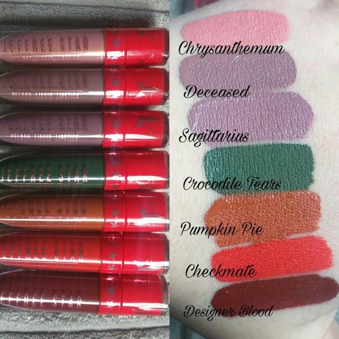 All Jeffree Star Holiday Collection 2016 Velour Liquid Lipsticks Review, Swatches Chrysanthemum, Deceased, Sagittarius, Crocodile Tears, Pumpkin Pie, Checkmate, Designer Blood