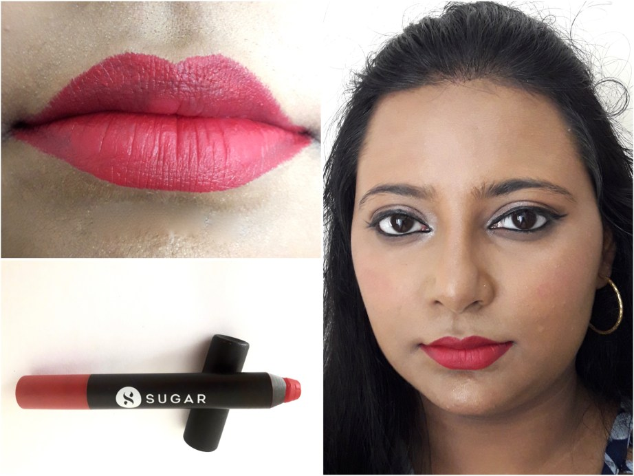 SUGAR Matte As Hell Crayon Lipstick Scarlett O'Hara 01 Review Swatches Lips MBF Makeup Look
