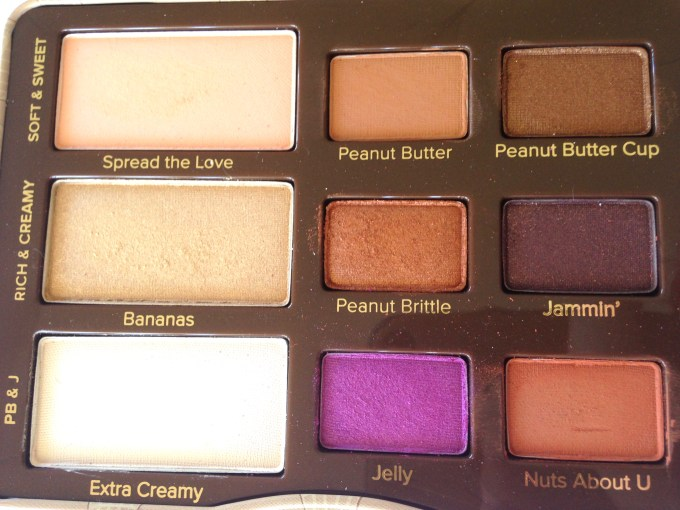 Too Faced Peanut Butter & Jelly Eyeshadow Palette Review Swatches Closeup