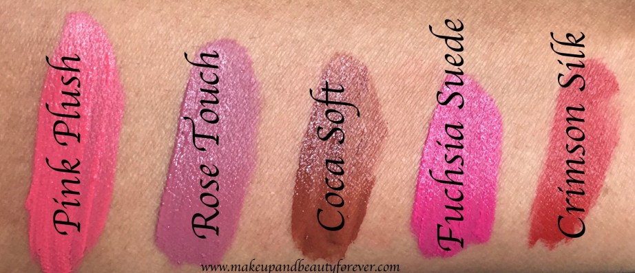 All Lakme 9 to 5 Weightless Matte Mousse Lip & Cheek Color Shades Review, Swatches Plush Pink, Rose Touch, Coca Soft, Fuchsia Suede, Crimson Silk