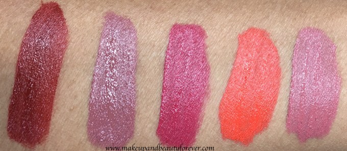 All Lakme 9 to 5 Weightless Matte Mousse Lip & Cheek Color Shades Swatches Burgundy Lush, Coffee Lite, Plum Feather, Tangerine Fluff, Blush Velvet