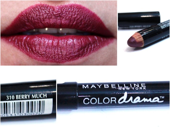 Maybelline Color Drama Intense Velvet Lip Pencil Berry Much Review, Swatches Lips