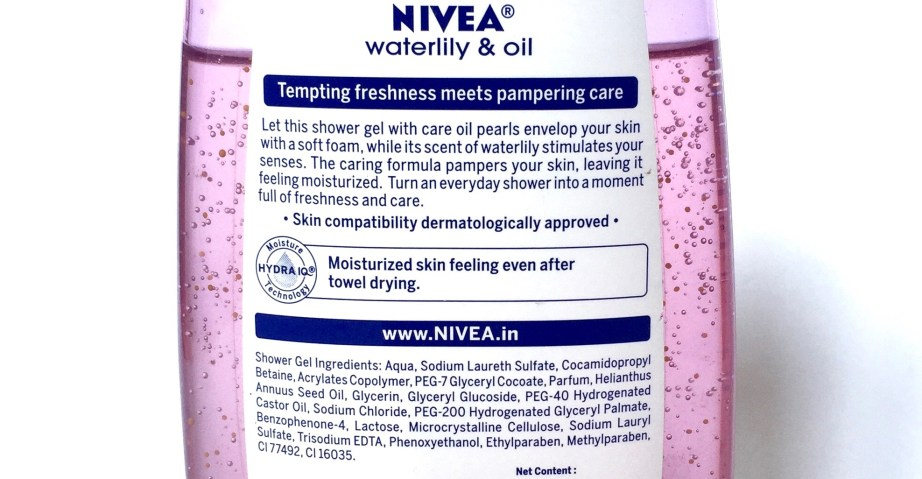 Nivea Waterlily & Oil Shower Gel Review Ingredients