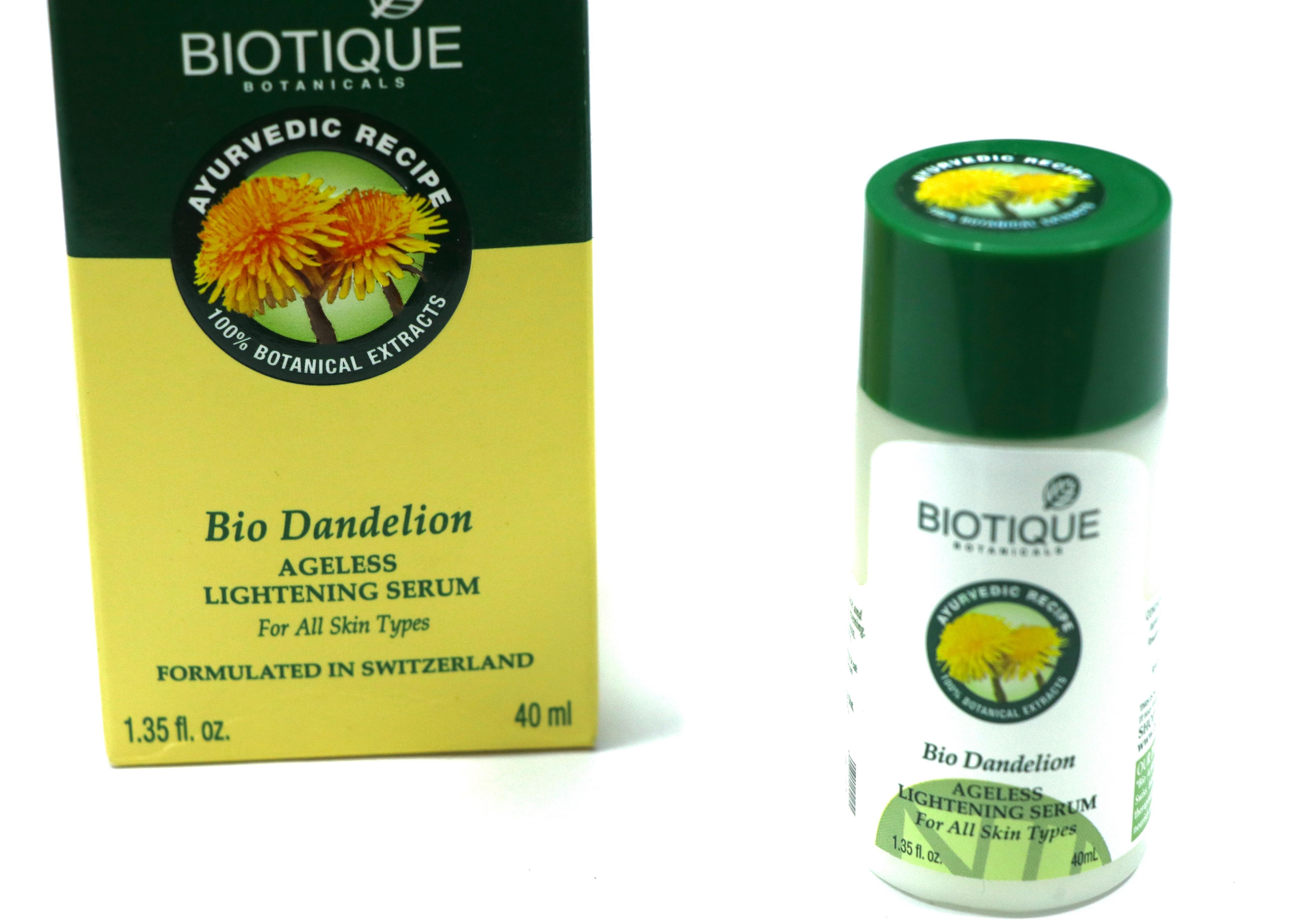 Biotique Bio Dandelion Ageless Lightening Serum Review Swatches