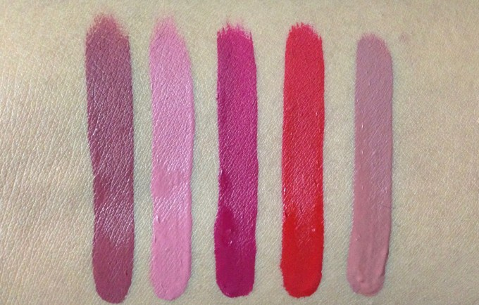 ColourPop Foxy Ultra Matte Lipstick Kit Review, Swatches L to R Tulle Clueless More Better Creeper Beeper