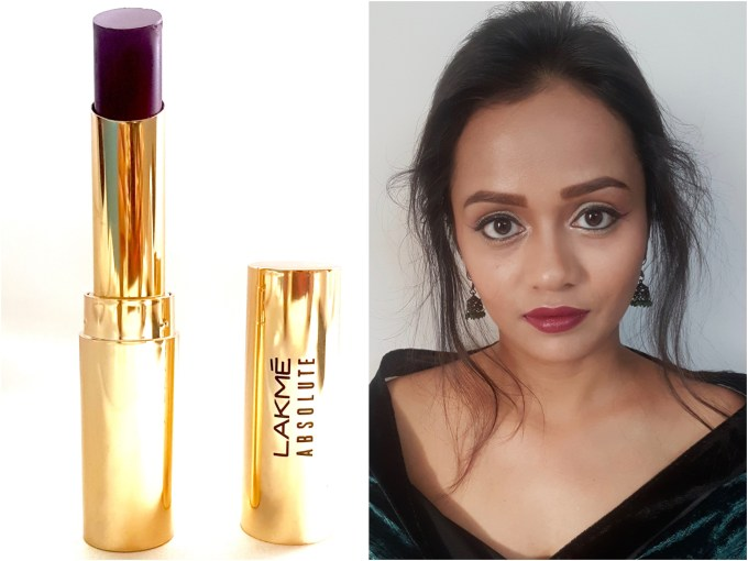 Lakme Absolute Argan Oil Lip Color Juicy Plum Review, Swatches MBF Blog Makeup Look