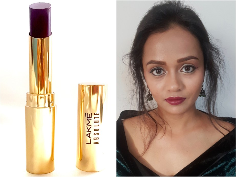 Lakme Absolute Argan Oil Lip Color Juicy Plum Review, Swatches MBF Blog Makeup Look