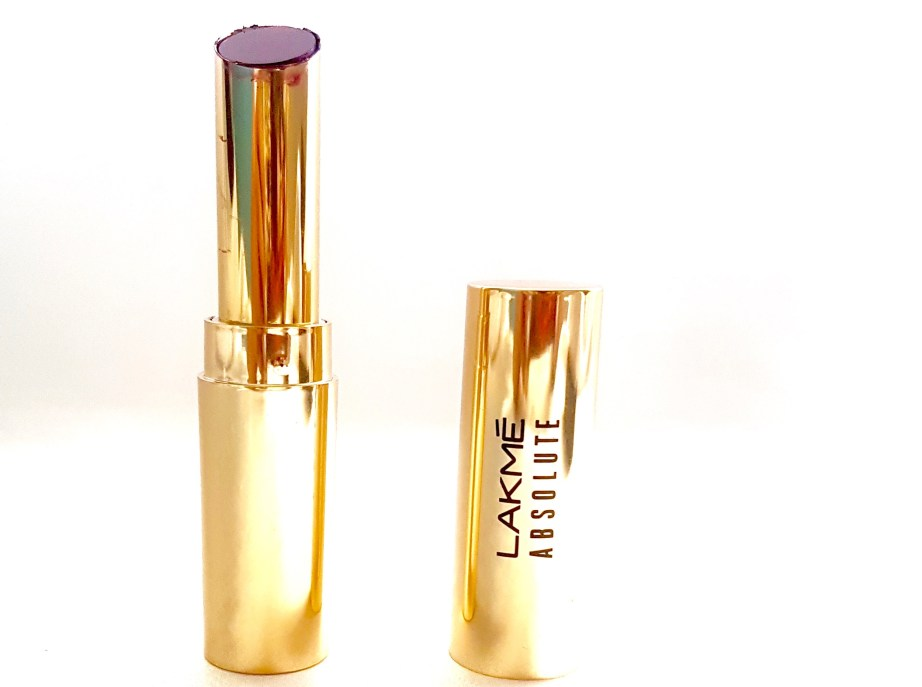 Lakme Absolute Argan Oil Lip Color Juicy Plum Review, Swatches gold packaging