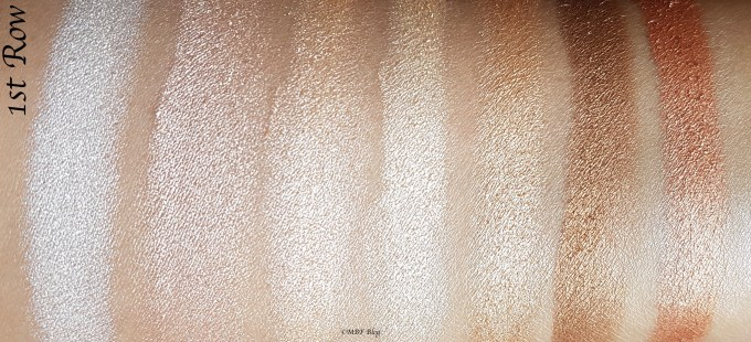 Morphe 35F Fall Into Frost Palette Review, Swatches 1st Row