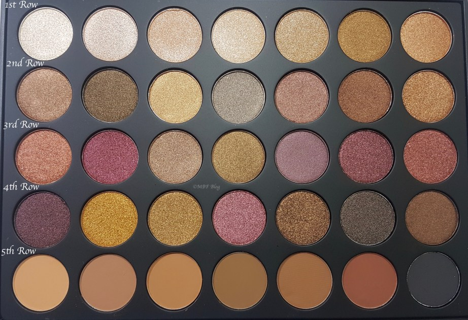 Morphe 35F Fall Into Frost Palette Review, Swatches close up