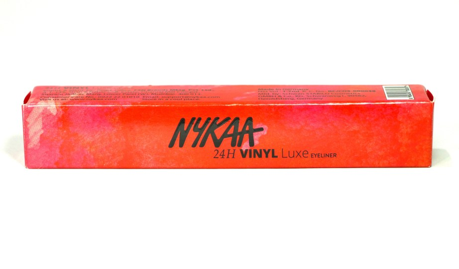 Nykaa 24Hrs Vinyl Luxe Eyeliner Black Granite Review, Swatches box
