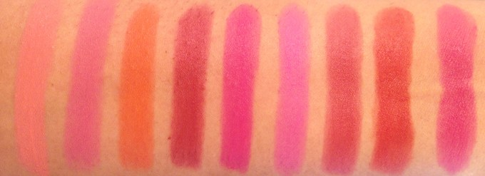 All Maybelline Powder Matte Lipsticks Shades Review, Swatches Make me Blush, Technically pink, Orange Shot, Plum Perfection, Pink Shot, Cherry Chic, Get Red dy, Up to Date L to R