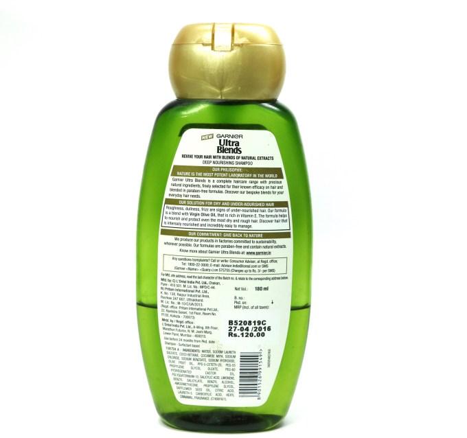 Garnier Ultra Blends Mythic Olive Deep Nourishing Shampoo Review back