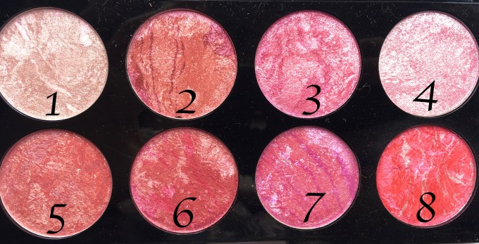 Makeup Revolution Blush Palette Blush Queen Review, Swatches with numbers