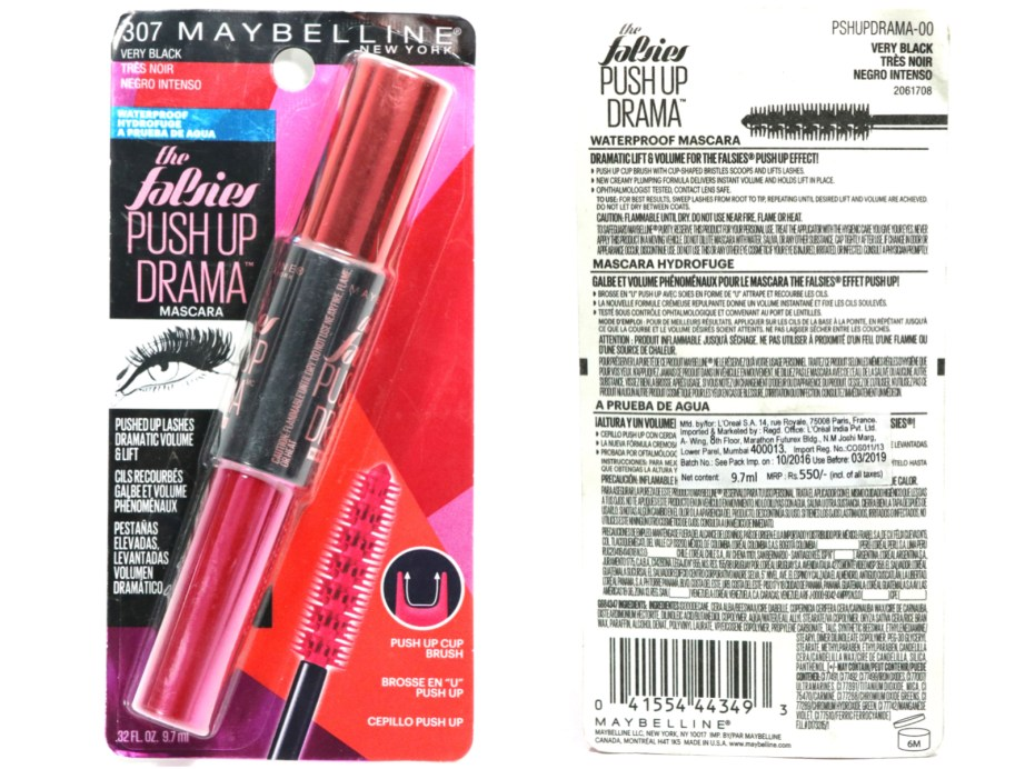 Maybelline Falsies Push Up Drama Mascara Review, Swatches, Demo packaging