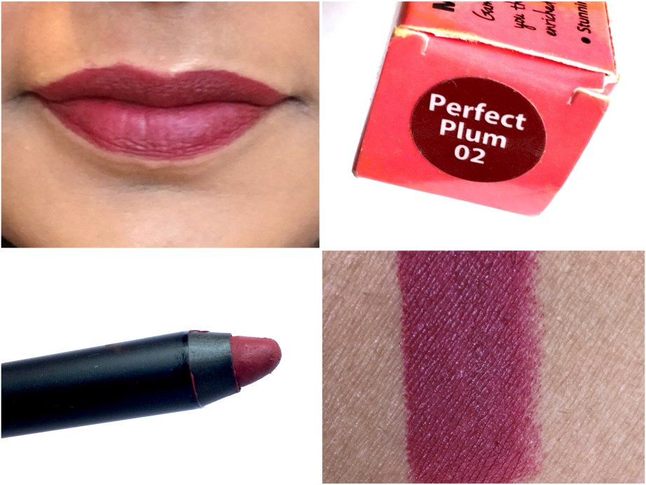 Nykaa Matteilicious Lip Crayon Perfect Plum Review, Swatches Makeup Beauty Blog