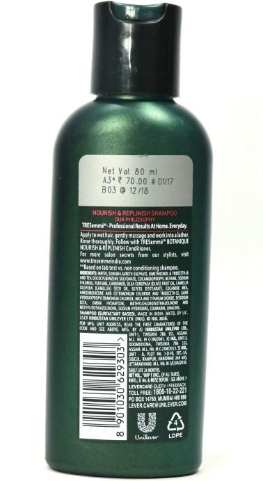 TRESemmé Botanique Nourish & Replenish Shampoo Review back