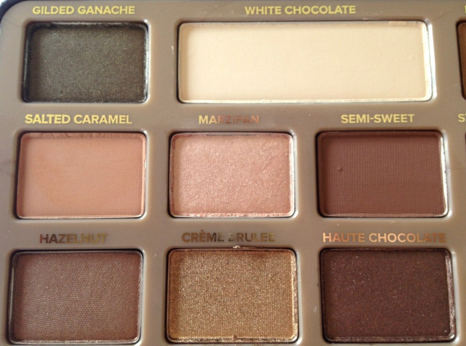 Too Faced Chocolate Bar Eyeshadow Palette Review, Swatches Left Half