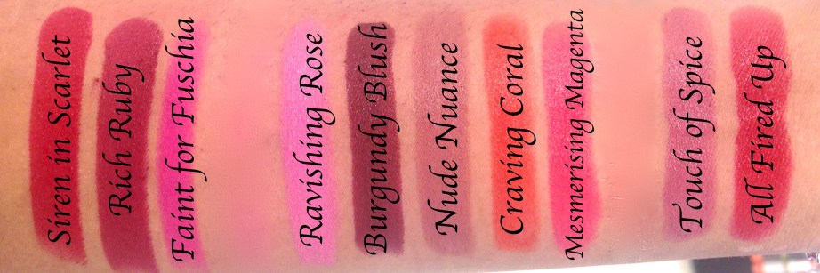 All Maybelline Creamy Matte Lipsticks Shades Review, Swatches Nude Nuance, Craving Coral, Mesmerising Magenta, Touch of Spice, All Fired Up, Divine Wine