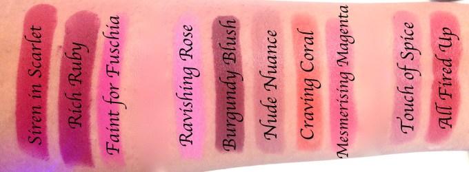 All Maybelline Creamy Matte Lipsticks Shades Review, Swatches Siren in Scarlet, Rich Ruby, Faint for Fuschia, Ravishing Rose, Burgundy Blush