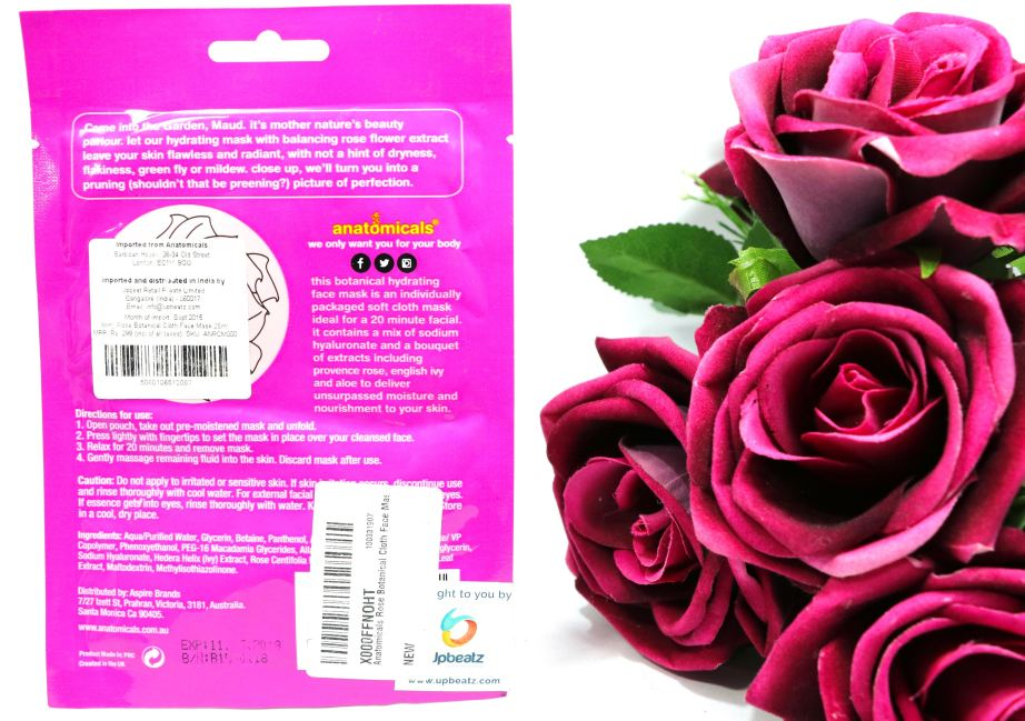 Anatomicals Botanical Hydrating Rose Face Mask Cloth Review details