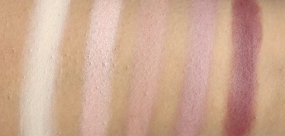 BH Cosmetics Carli Bybel Eyeshadow & Highlighter Palette Review, Swatches 1 row