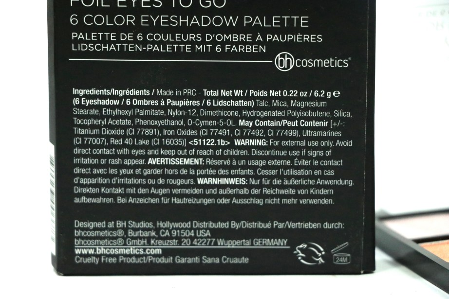 BH Cosmetics Foil Eyes To Go Eyeshadow Palette Review, Swatches Ingredients