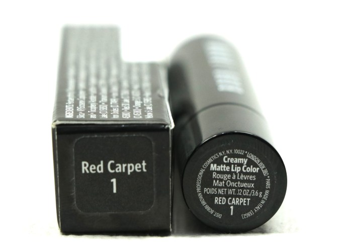 Bobbi Brown Creamy Matte Lip Color Red Carpet Review, Swatches label