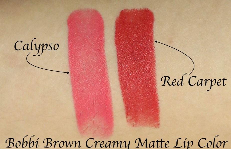 Bobbi Brown Creamy Matte Lip Color Red Carpet Vs Calypso Review Swatches