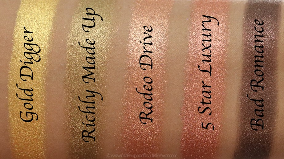Morphe Pressed Pigments Swatches Gold Digger, Richly Made Up, Rodeo Drive, 5 Star Luxury, Bad Romance skin