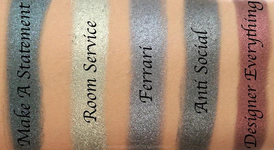 Morphe Pressed Pigments Swatches Make A Statement, Room Service, Ferrari, Anti Social, Designer Everything Skin
