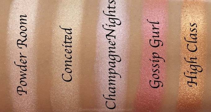 Morphe Pressed Pigments Swatches Powder Room, Conceited, Champagne Nights, Gossip Gurl, High Class L to R