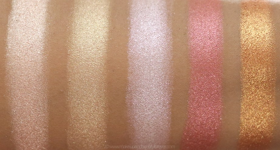 Morphe Pressed Pigments Swatches Powder Room, Conceited, Champagne Nights, Gossip Gurl, High Class skin