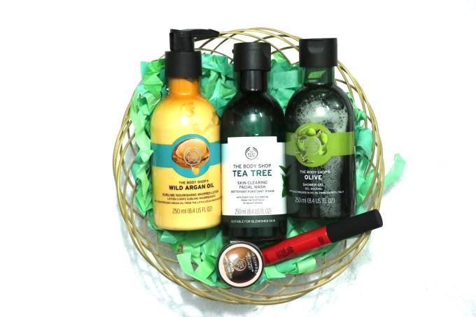 The Body Shop Haul Argan Oil, Tea tree face wash, olive shower gel, sydney amaryllis, shea lip butter