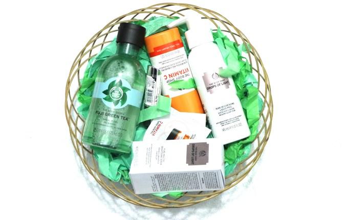 The Body Shop Haul Fuji green tea shower gel, vitamin c liquid peel, drops of light resurfacing peel, drops of light serum