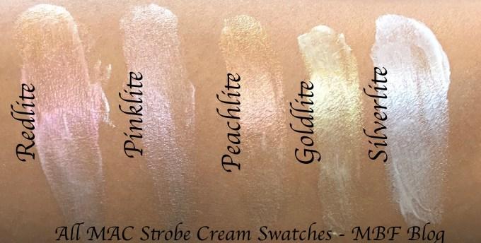 All MAC Strobe Cream Shades Review, Swatches Redlite, Pinklite, Peachlite, Goldlite, Silverlite