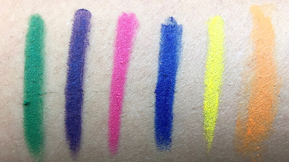 All MAC Work It Out Chromagraphic Pencils Shades Review, Swatches Landscape Green, Rich Purple, Process Magenta, Marine Ultra, Primary Yellow, Genuine Orange
