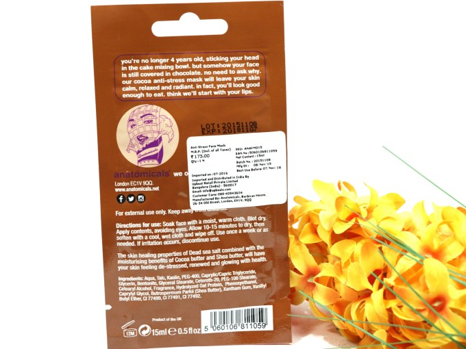 Anatomicals Look You've Got Chocolate All Over Your Face Anti-Stress Face Mask Review Details