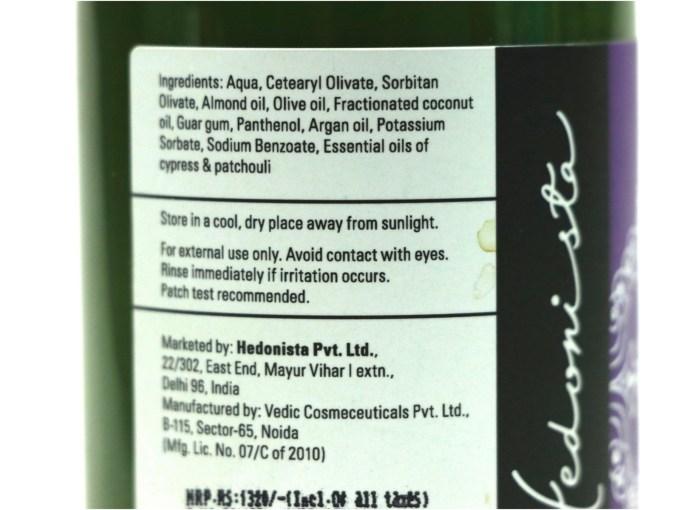 Hedonista Argan Conditioner Review Ingredients
