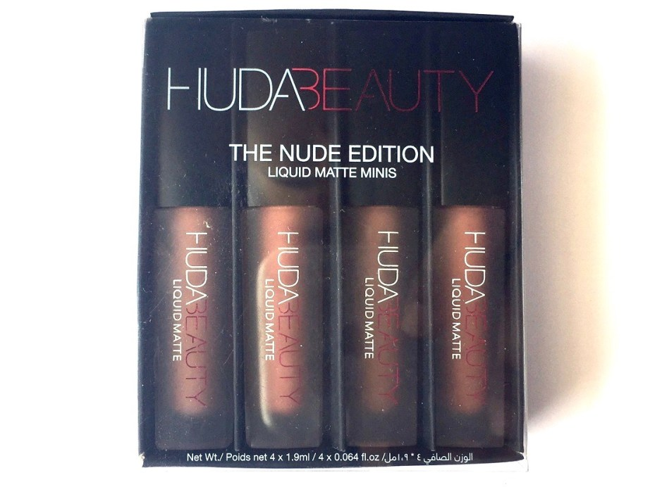 Huda Beauty The Nude Edition Liquid Matte Minis Lipstick Set Review, Swatches Front