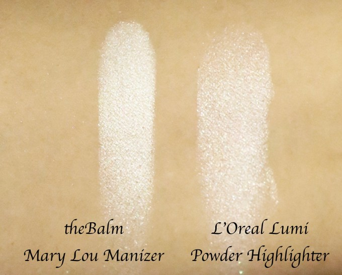 L'Oreal True Match Lumi Powder Glow Illuminator Blush & Highlight VS Mary Loumanizer Swatches