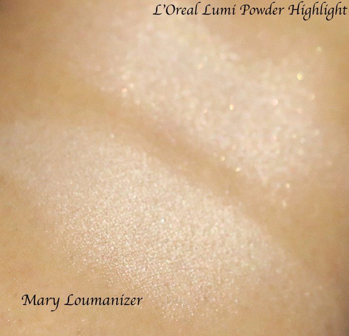 L'Oreal True Match Lumi Powder Glow Illuminator Blush & Highlight Vs Mary Lou Manizer Swatches