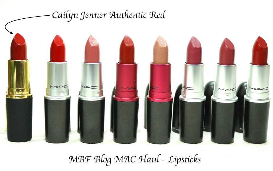 MAC Lipsticks Caitlyn Jenner Authentic Red, Ruby Woo, Mehr, Viva Glam 2 and 1, Captive, Amorous, Russian Red