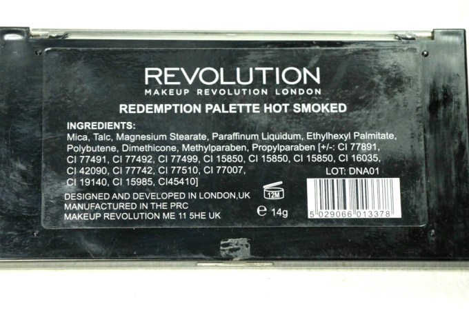 Makeup Revolution Hot Smoked Redemption Palette Review, Swatches back