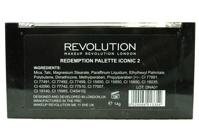 Makeup Revolution Iconic 2 Redemption Palette Review, Swatches back